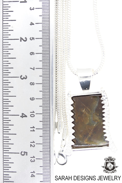 Ammolite 925 Sterling Silver Pendant 4mm Snake Chain P1556