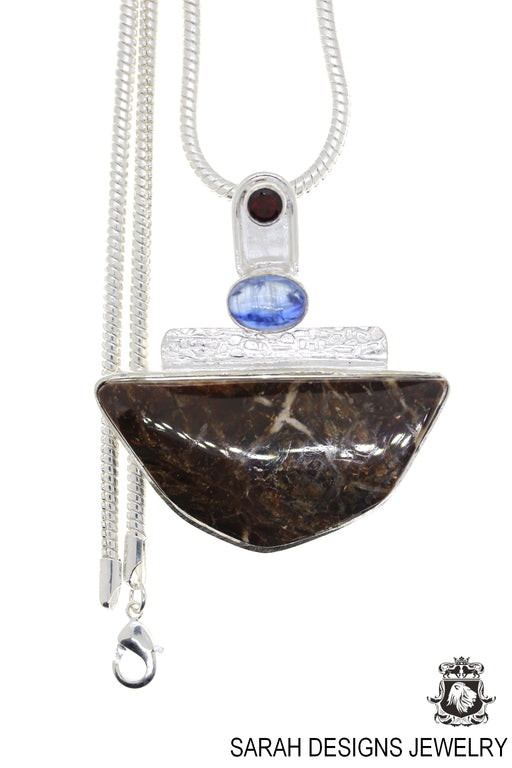 Ammolite 925 Sterling Silver Pendant 4mm Snake Chain P1564