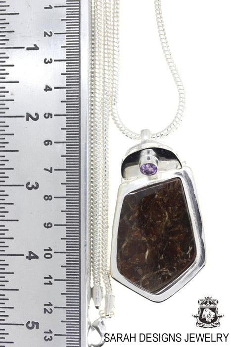 Ammolite 925 Sterling Silver Pendant 4mm Snake Chain P1577