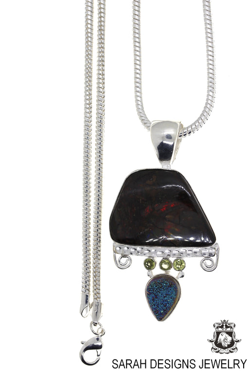 Ammolite 925 Sterling Silver Pendant 4mm Snake Chain P1578