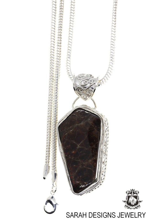Ammolite 925 Sterling Silver Pendant 4mm Snake Chain P1596