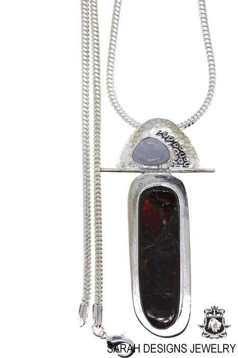 Ammolite 925 Sterling Silver Pendant 4mm Snake Chain P1604