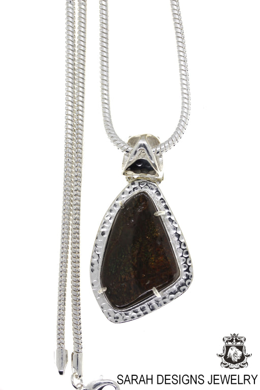 Ammolite 925 Sterling Silver Pendant 4mm Snake Chain P1614