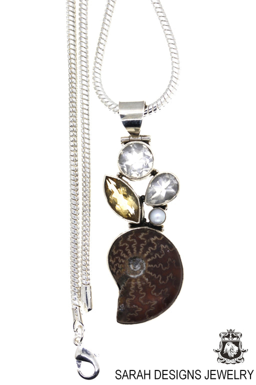 Placenticeras Ammonite Fossil Citrine Pearl 925 Sterling Silver Pendant 4mm Snake Chain P17