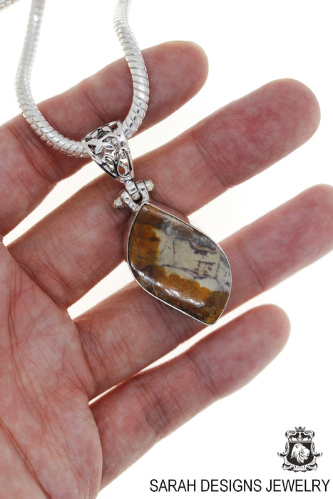 Rhyolite Rainforest Jasper Pendant 4mm Snake Chain P3560