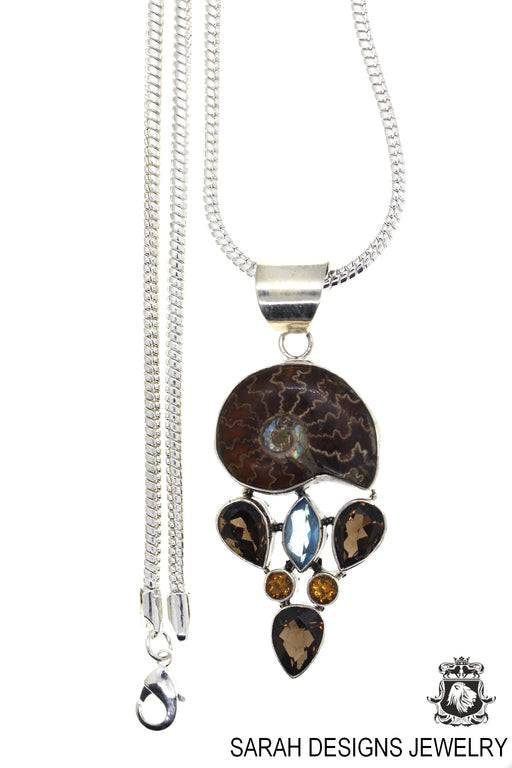 Placenticeras Meeki Ammonite Aquamarine Smokey Quartz 925 Sterling Silver Pendant 4mm Snake Chain P40