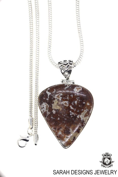 Crazy lace Agate Pendant 4mm Snake Chain P4416