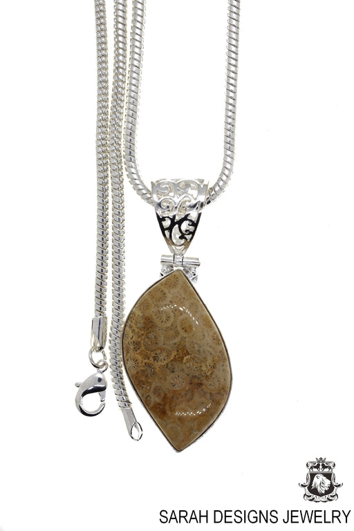 Fossilized Bali Coral Pendant 4mm Snake Chain P4421