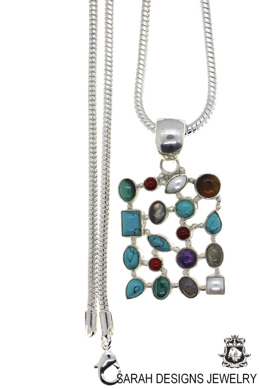 Turquoise Pearl Labradorite Pendant 4mm Snake Chain P4444