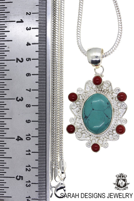 Tibetan Turquoise and Coral Pendant 4mm Snake Chain P4447