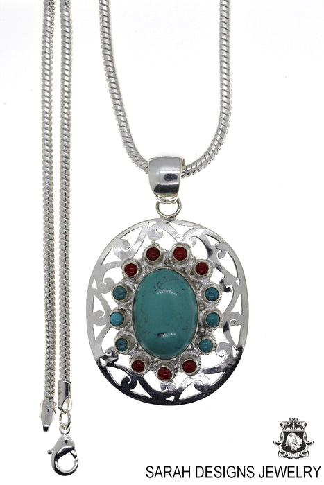 Turquoise Coral Pendant 4mm Snake Chain P4464