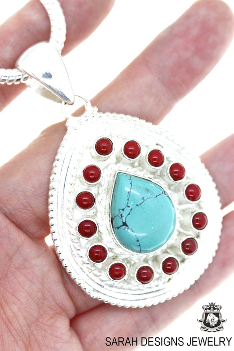 Tear Drop Turquoise Coral Pendant 4mm Snake Chain P4467