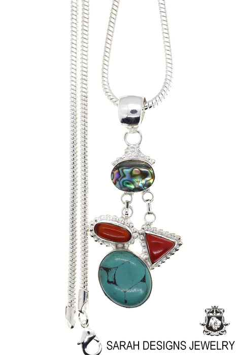 Turquoise Coral Abalone Pendant 4mm Snake Chain P4468