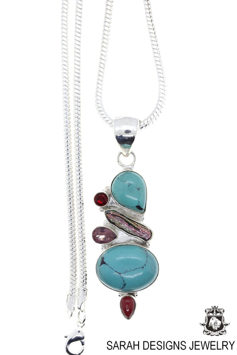 Turquoise Pearl Amethyst Garnet Coral Pendant 4mm Snake Chain P4477
