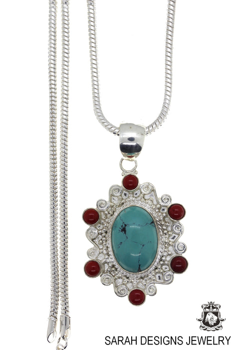 Turquoise Coral Pendant 4mm Snake Chain P4478