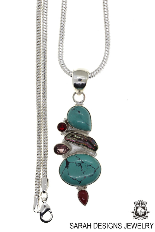 Turquoise Pearl Amethyst Garnet Coral Pendant 4mm Snake Chain P4485