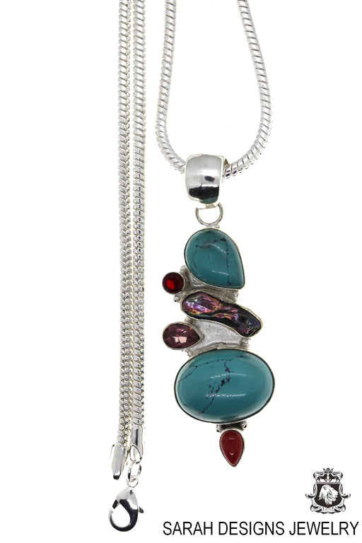 Turquoise Pearl Amethyst Garnet Coral Pendant 4mm Snake Chain P4490