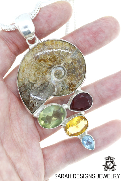 Ammonite Garnet Green Amethyst Citrine Blue Topaz 925 Sterling Silver Pendant 4mm Snake Chain P4520