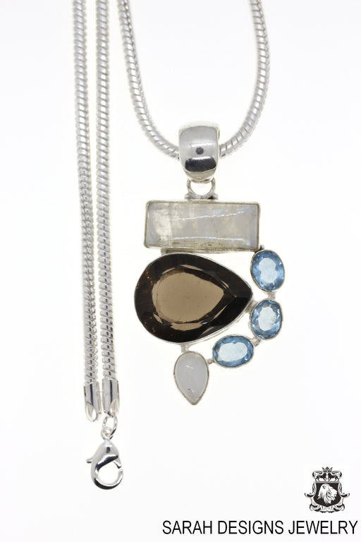 Moonstone Smoky Topaz Pendant 4mm Snake Chain P4535
