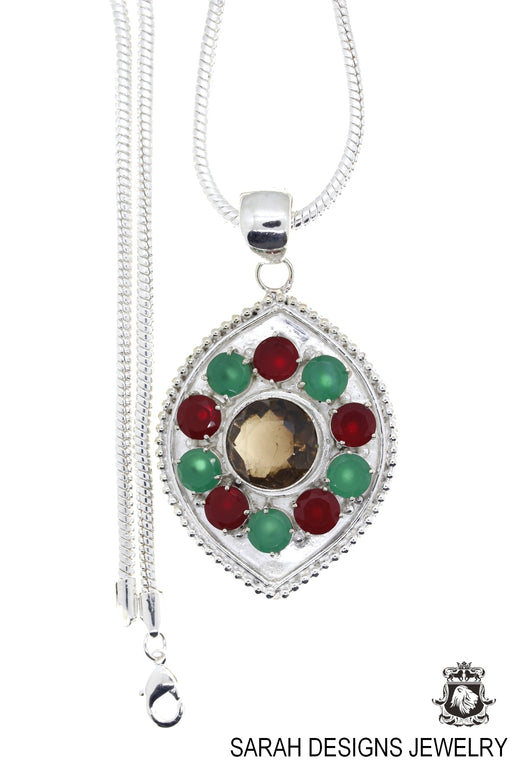 Ruby Emerald Smoky Topaz Pendant 4mm Snake Chain P4565