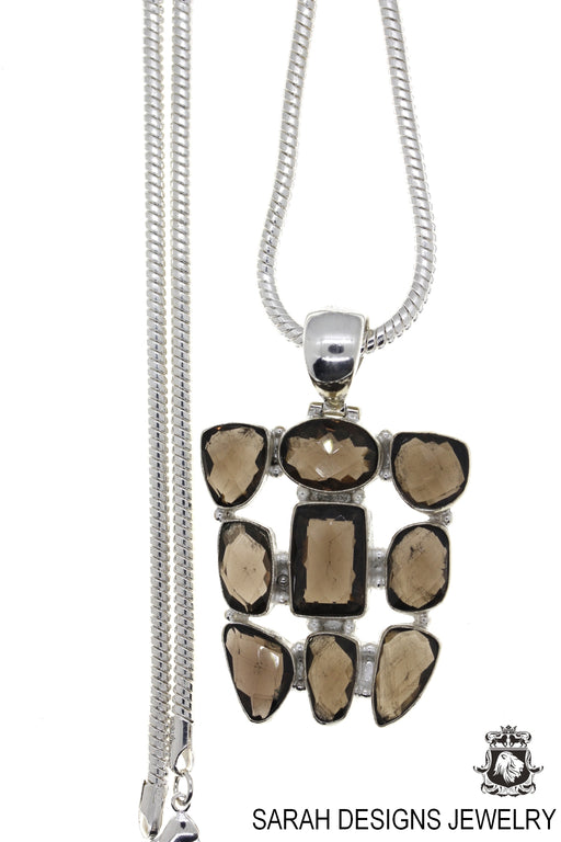 Smoky Topaz Pendant 4mm Snake Chain P4602