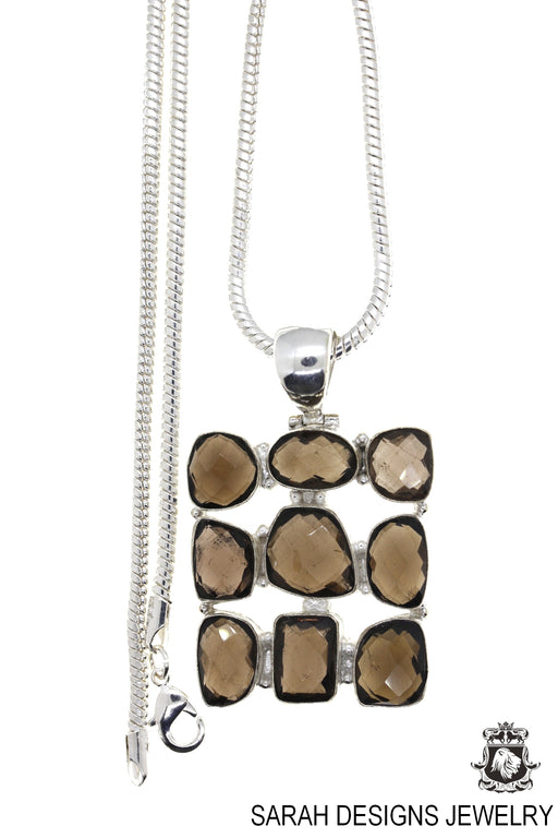 Smoky Topaz Pendant 4mm Snake Chain P4606