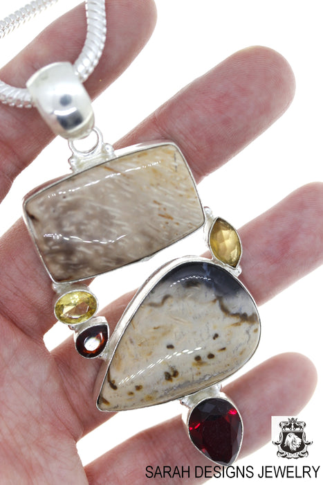 Petrified Wood  Pendant 4mm Snake Chain P4621