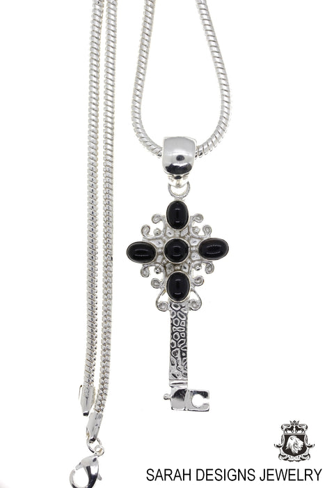 Black Onyx Key Pendant 4mm Snake Chain P4639