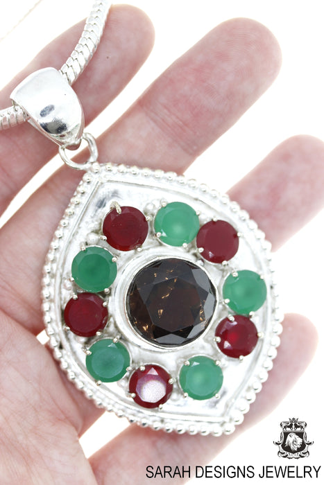 Smoky Topaz Ruby Emerald Pendant 4mm Snake Chain P4645