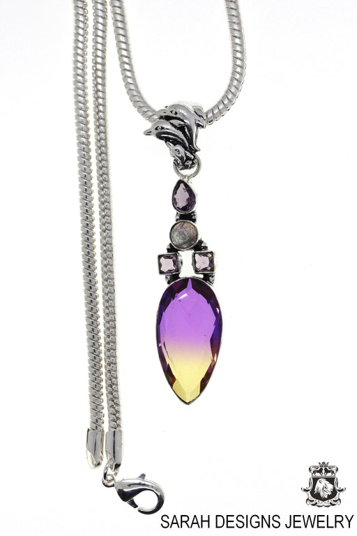 Simulated Ametrine Pendant 4mm Snake Chain P4686