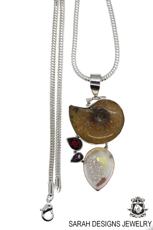Ammonite Fossil Drusy 925 Sterling Silver Pendant 4mm Snake Chain P58