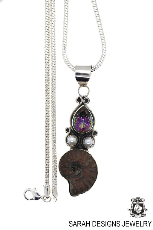 Ammonite Mystic Topaz Pearl 925 Sterling Silver Pendant 4mm Snake Chain P848