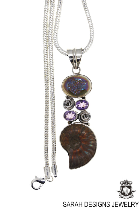 Ammonite Agate Drusy Amethyst 925 Sterling Silver Pendant 4mm Snake Chain P871