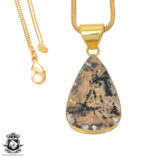 Merlinite Dendritic Opal 24K Gold Plated Pendant 3mm Snake Chain GPH760