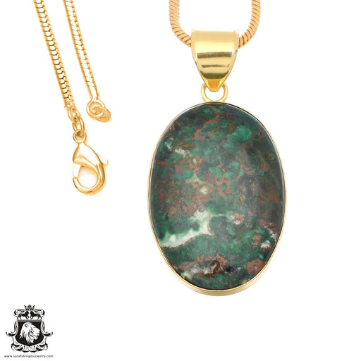 Sonora Sunrise Jasper 24K Gold Plated Pendant 3mm Snake Chain GPH1482