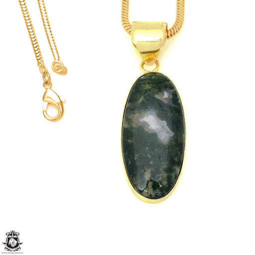 Moss Agate 24K Gold Plated Pendant 3mm Snake Chain GPH1616