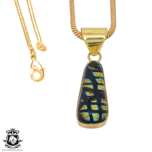 Dichroic Glass 24K Gold Plated Pendant 3mm Snake Chain GPH783