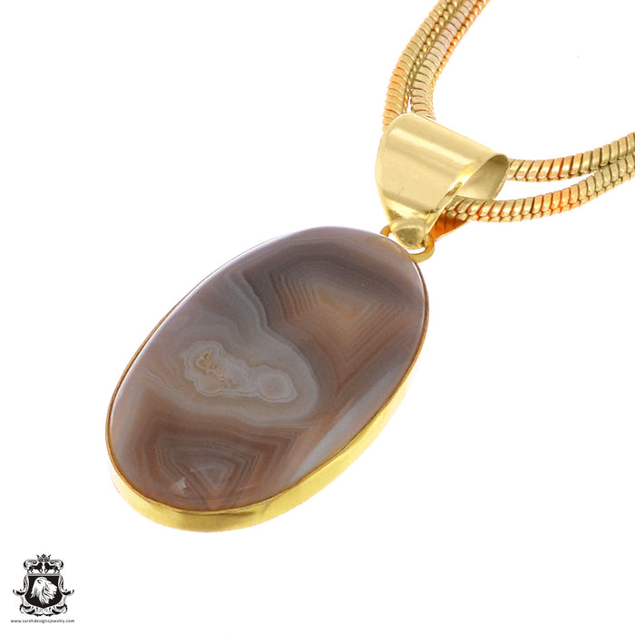 Sardonyx 24K Gold Plated Pendant 3mm Snake Chain GPH1034