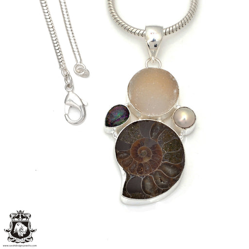 Ammonite Pendant 4mm Snake Chain P7812