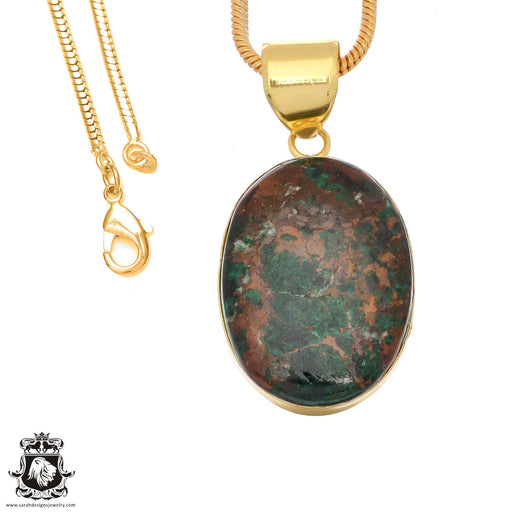 Sonora Sunrise Jasper 24K Gold Plated Pendant 3mm Snake Chain GPH1490
