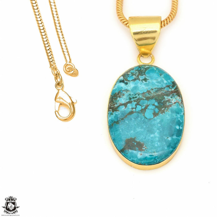 Turquoise 24K Gold Plated Pendant 3mm Snake Chain GPH504