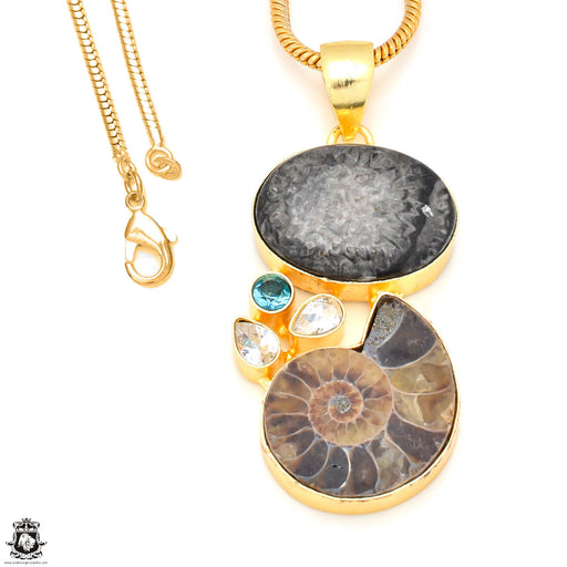 Stingray Coral Ammonite 24K Gold Plated Pendant 3mm Snake Chain GP235