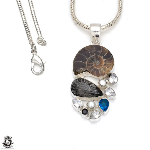 Ammonite Pendant 4mm Snake Chain P8360