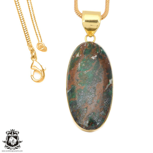 Sonora Sunrise Jasper 24K Gold Plated Pendant 3mm Snake Chain GPH1485
