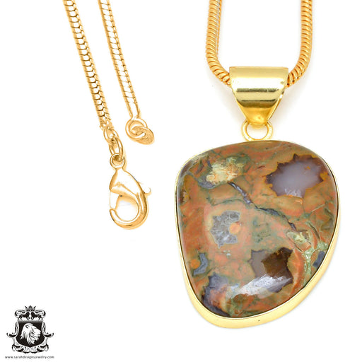 Rhyolite 24K Gold Plated Pendant 3mm Snake Chain GPH470