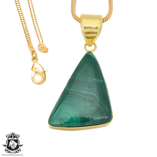 Canadian Malachite 24K Gold Plated Pendant 3mm Snake Chain GPH1384