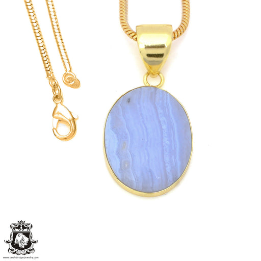 Blue Lace Agate 24K Gold Plated Pendant 3mm Snake Chain GPH1499