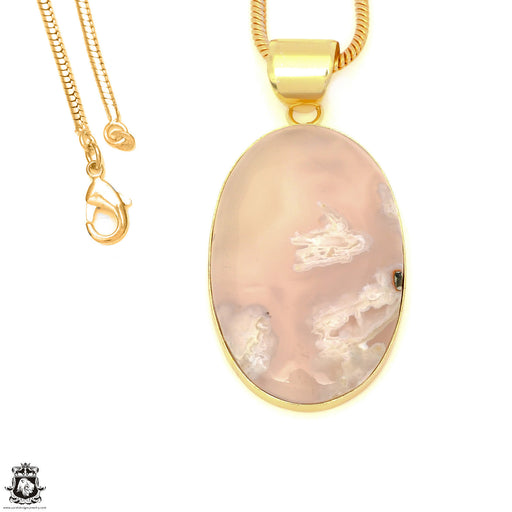 Stick Agate 24K Gold Plated Pendant 3mm Snake Chain GPH1574