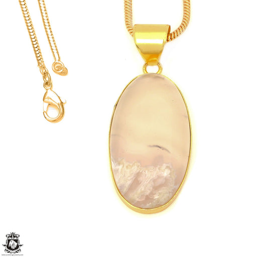 Stick Agate 24K Gold Plated Pendant 3mm Snake Chain GPH1577