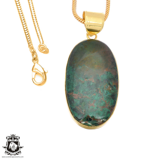 Sonora Sunrise Jasper 24K Gold Plated Pendant 3mm Snake Chain GPH1486